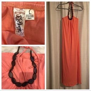 🌻 Like New. L8TER wooden beaded halter maxi dress